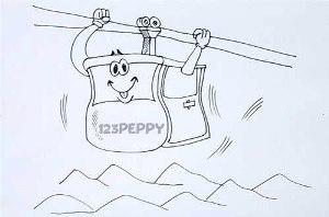 нарисовать пошагово канатную дорогу карандашом, рисунок  канатной дороги, контурный рисунок,  черно-белый