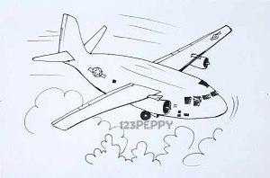 Рисунок самолета контурный рисунок