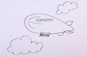 нарисовать пошагово дирижабль карандашом, рисунок  дирижабля, контурный рисунок,  черно-белый