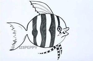 нарисовать пошагово полосатую рыбку карандашом, рисунок  полосатой рыбки, контурный рисунок,  черно-белый