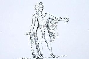нарисовать пошагово Аполлона карандашом, рисунок  Аполлона, контурный рисунок,  черно-белый