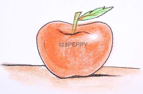 нарисовать пошагово яблоко карандашом, рисунок  яблока, контурный рисунок,  цветной