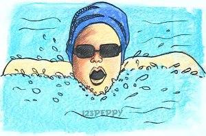 нарисовать пошагово пловца карандашом, рисунок  пловца, контурный рисунок,  цветной