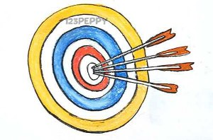 нарисовать пошагово мишень и стрелы карандашом, рисунок  мишени со стрелами, контурный рисунок,  цветной