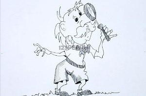 нарисовать пошагово дедушку с лупой карандашом, рисунок  дедушки с лупой, контурный рисунок,  черно-белый
