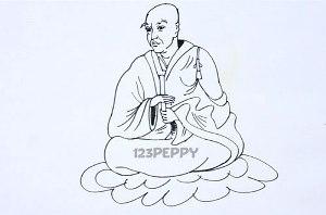 нарисовать пошагово буддийского монаха карандашом, рисунок  буддийского монаха, контурный рисунок,  черно-белый