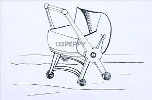 нарисовать пошагово детскую коляску карандашом, рисунок  детской коляски, контурный рисунок,  черно-белый