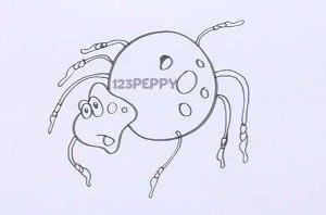 нарисовать пошагово маленького паучка карандашом, рисунок  маленького паучка, контурный рисунок,  черно- белый
