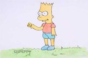 нарисовать пошагово Барта Симпсона карандашом, рисунок  Барта Симпсона, контурный рисунок,  цветной