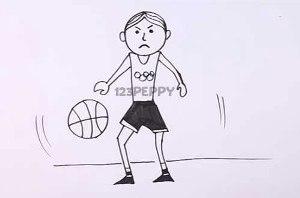 нарисовать пошагово игру в баскетбол карандашом, рисунок  игры в баскетбол, контурный рисунок,  черно-белый