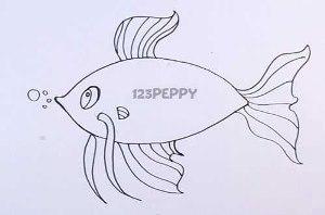 нарисовать пошагово забавную рыбку карандашом, рисунок  забавной рыбки, контурный рисунок,  черно-белый