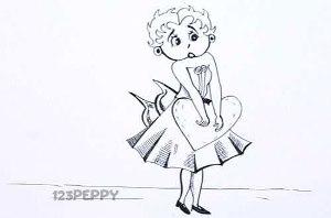 нарисовать пошагово Бетти карандашом, рисунок  Бетти, контурный рисунок,  черно-белый