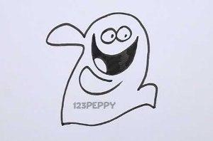 нарисовать пошагово веселое привидение карандашом, рисунок  веселого привидения, контурный рисунок,  черно-белый