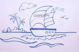 нарисовать пошагово кораблик с парусами карандашом, рисунок  кораблика с парусами, контурный рисунок,  черно-белый
