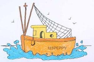 нарисовать пошагово рыболовецкий катер карандашом, рисунок  рыболовецкого катера, контурный рисунок,  цветной