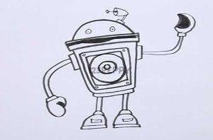 нарисовать пошагово забавного робота карандашом, рисунок  забавного робота, контурный рисунок,  черно-белый