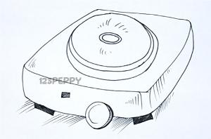 нарисовать пошагово электроплитку карандашом, рисунок  электроплитки, контурный рисунок,  черно-белый