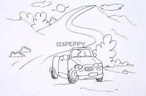 нарисовать пошагово машину на дороге карандашом, рисунок  машины на дороге, контурный рисунок,  черно-белый