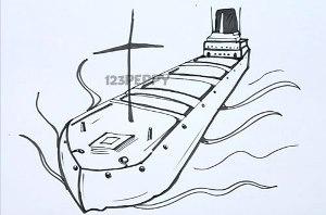 нарисовать пошагово грузовой корабль, баржу карандашом, рисунок  грузового корабля, баржи, контурный рисунок,  черно-белый