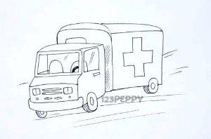 нарисовать пошагово машину скорой помощи карандашом, рисунок  машины скорой помощи, контурный рисунок,  черно-белый