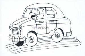 нарисовать пошагово мультяшную машину карандашом, рисунок  мультяшной машины, контурный рисунок,  черно-белый