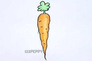 нарисовать пошагово морковь, морковку карандашом, рисунок  моркови, морковки, контурный рисунок,  цветной