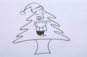нарисовать пошагово веселую новогоднюю елку карандашом, рисунок  веселой новогодней елки, контурный рисунок,  черно-белый