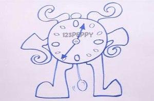 нарисовать пошагово мультяшные часы карандашом, рисунок  мультяшные часы, контурный рисунок,  черно-белый