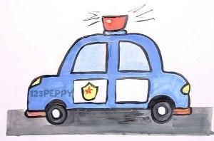 нарисовать пошагово полицейскую машину с мигалкой карандашом, рисунок  полицейской машины с мигалкой, контурный рисунок,  цветной