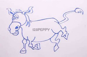 нарисовать пошагово осла карандашом, рисунок  осла, контурный рисунок,  черно-белый