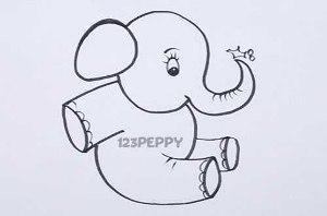 нарисовать пошагово маленького слоненка карандашом, рисунок  маленького слоненка, контурный рисунок,  черно-белый