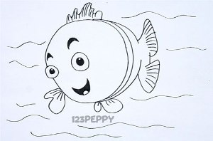 нарисовать пошагово глупую рыбку карандашом, рисунок  глупой рыбки, контурный рисунок,  черно-белый