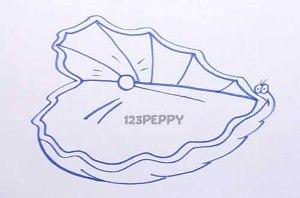нарисовать пошагово раковину с жемчужиной карандашом, рисунок  раковины с жемчужиной, контурный рисунок,  черно-белый