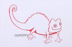 нарисовать пошагово хамелеона Паскаля карандашом, рисунок  хамелеона Паскаля, контурный рисунок,  черно-белый