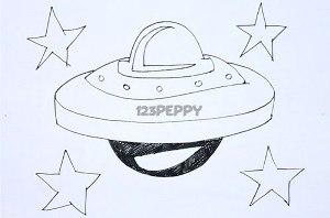 нарисовать пошагово космический корабль карандашом, рисунок  космического корабля, контурный рисунок,  черно-белый