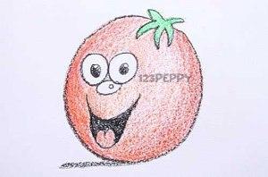 нарисовать пошагово веселый помидор карандашом, рисунок  веселого помидора, контурный рисунок,  цветной