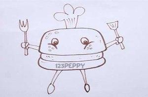 нарисовать пошагово гамбургер с вилкой и ложкой карандашом, рисунок  гамбургера с вилкой и ложкой, контурный рисунок,  черно-белый