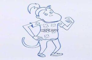 нарисовать пошагово Обезьянку с хвостиком карандашом, рисунок  обезьянки с хвостиком, контурный рисунок,  черно-белый