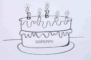 нарисовать пошагово шоколадный торт карандашом, рисунок  шоколадного торта, контурный рисунок,  черно-белый