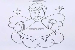нарисовать пошагово рождественского ангела карандашом, рисунок  рождественского ангела, контурный рисунок,  черно-белый