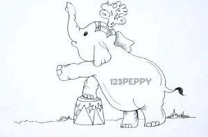 нарисовать пошагово циркового слоненка карандашом, рисунок  циркового слоненка, контурный рисунок,  черно-белый