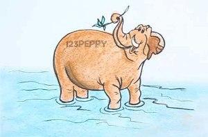 нарисовать пошагово слона в воде карандашом, рисунок  слона в воде, контурный рисунок,  цветной