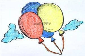 нарисовать пошагово воздушные шары карандашом, рисунок  воздушных шаров, контурный рисунок,  цветной