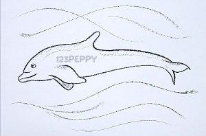 нарисовать пошагово дельфина карандашом, рисунок  дельфина, контурный рисунок,  черно-белый