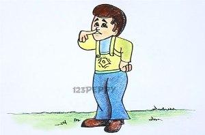 нарисовать пошагово смущенного мальчика карандашом, рисунок  смущенного мальчика, контурный рисунок,  цветной