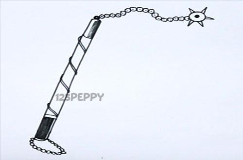 нарисовать пошагово булаву с цепью карандашом, рисунок  булавы с цепью, контурный рисунок,  черно - белый