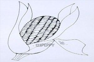 нарисовать пошагово кукурузу карандашом, рисунок  кукурузы, контурный рисунок,  черно-белый