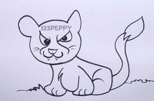нарисовать пошагово пуму карандашом, рисунок  пумы, контурный рисунок,  черно-белый