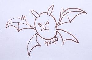 нарисовать пошагово злую летучую мышь карандашом, рисунок  злой летучей мыши, контурный рисунок,  черно-белый