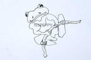 нарисовать пошагово кубинскую лягушку карандашом, рисунок  кубинской лягушки, контурный рисунок,  черно- белый